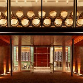 New entryway with large glass doors and windows at Williams Selyem winery
