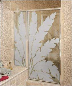 Decorative glass shower door with frosted design
