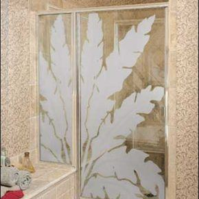 Custom glass shower door with frosted design