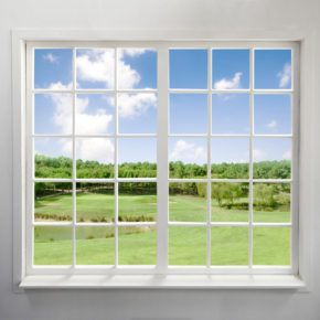 Large residential glass picture frame window