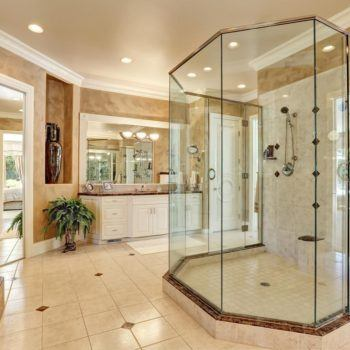 Large custom fitted shower enclosure with glass door