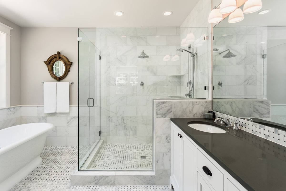 New custom fitted glass shower door and enclosure