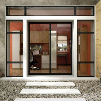 residential entry way with aluminum windows