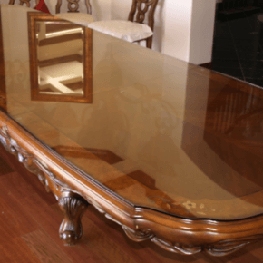 dining room table with glass table top