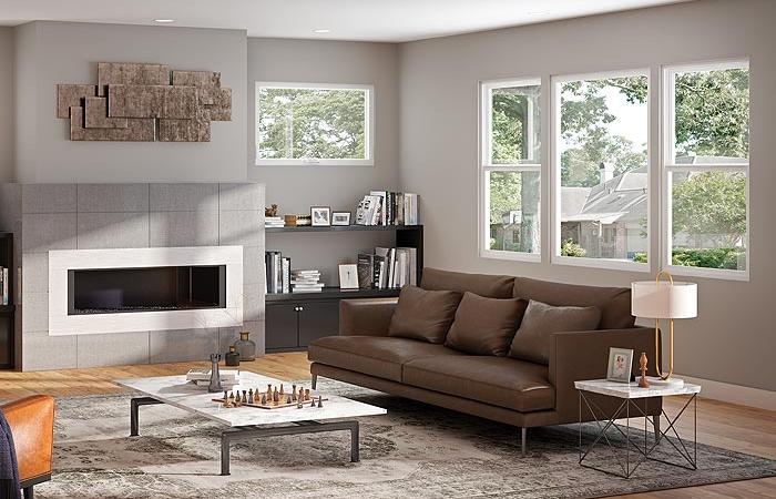 modern living room with plenty of natural light from residential windows