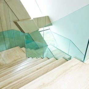 All glass hand rails and side walls
