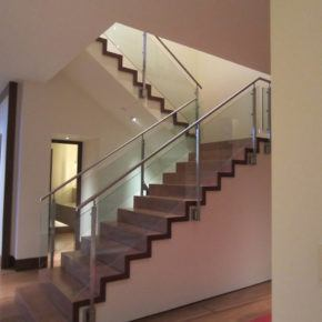 glass handrails on residential staircase