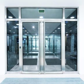Storefront with aluminum framed glass doors and windows