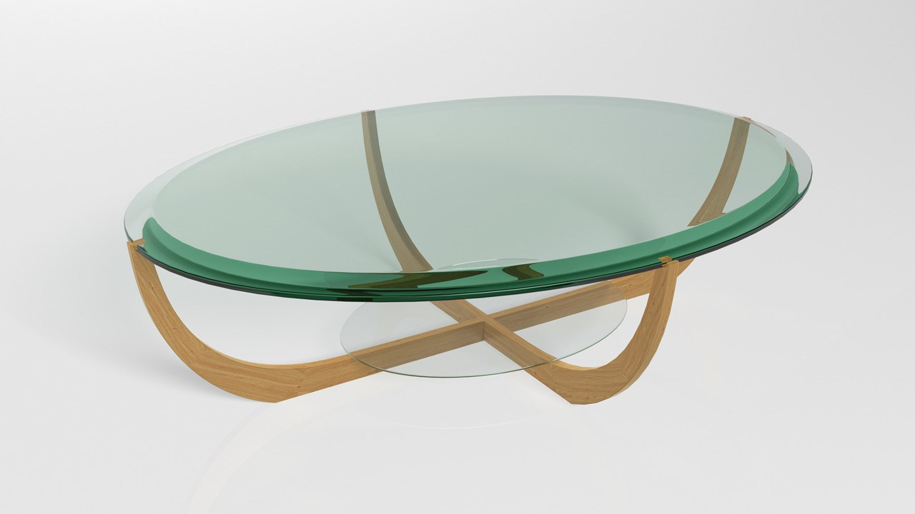 Custom Cut And Beveled Glass Coffee Table